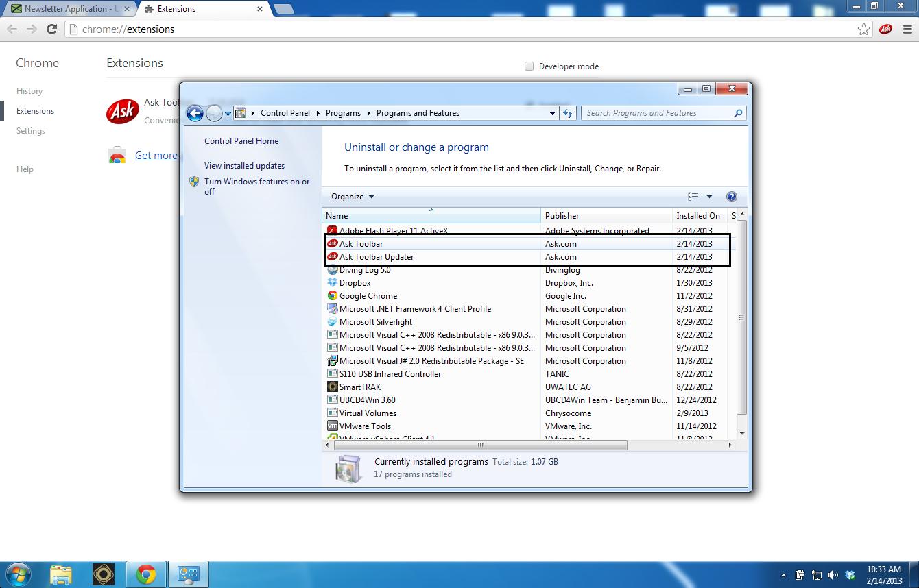 Ask Toolbar fjerner bunden af Ubivox-systemet - billede 2