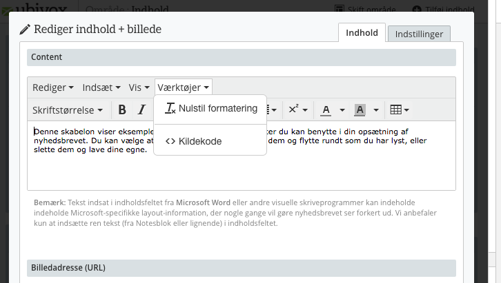html-redigering i ubivox 1