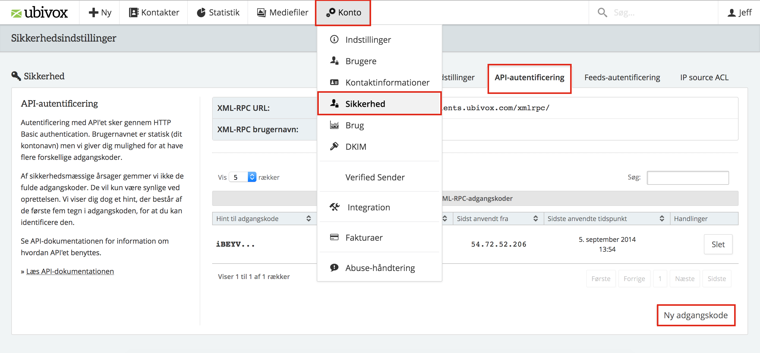 Find din API information - Ubivox Danmark Support